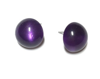 Dark Purple Studs | Eggplant Purple Retro Button Stud Earrings in Moonglow | vintage lucite | #MGB-2PU