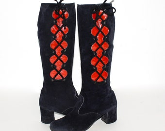 Vintage BANDALINO GOGO Boots Navy Blue Suede Red Patent Leather Lace Up 8