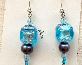 Antique glass earrings, blue earrings, drop earrings