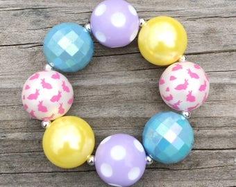 Easter Bunny Bracelet, Easter Jewelry, Toddler Bracelet, Girls Easter Jewelry, Toddler Jewelry, Girls Spring Bracelet, Pastel Bracelet
