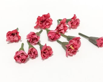 One Lot Peppermint Pink Carnations - Artificial Flowers, Silk Flowers, Flower Crown, Wedding, Millinery, Hair Accessories