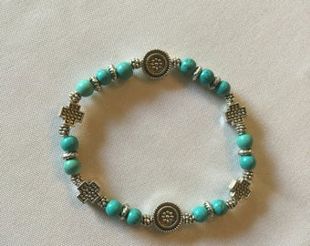Blue turquoise and silver  cross bracelet