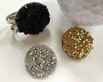 3 Glitzy Golf Ball Markers and 1 Visor Clip - Bling - Functional Jewelry Lady Golfer - Mark Your Putts - Black • Gold • Silvery Crystal