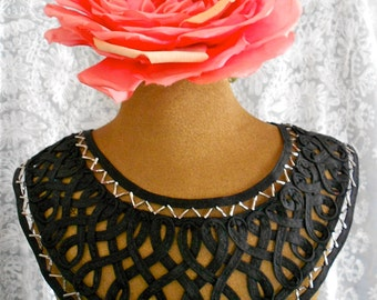 Black Silver Beaded Appliques