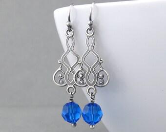 Capri Blue Earrings Crystal Drop Earrings Blue Crystal Earrings Unique Fashion Jewelry Handmade Crystal Jewelry - Moroccan Dreams