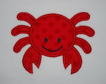 Happy crab onesie or toddler tee, custom embroidered, made to order