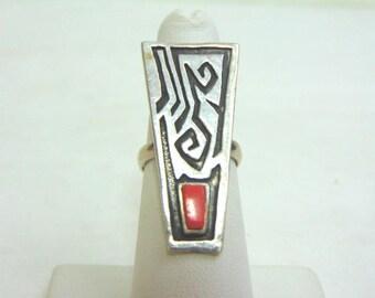 Vintage Estate Sterling Silver Ring W/ Southwestern, Native American Design 7.3g E3674