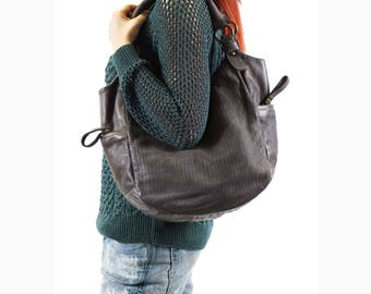 Hobo Bag, Crossbody Bag, Gray Leather Bag, Shoulder Hobo Bag, Crossbody Hobo Bag, Leather Hobo Bag, Soft Leather Handbag, Gray Crossbody