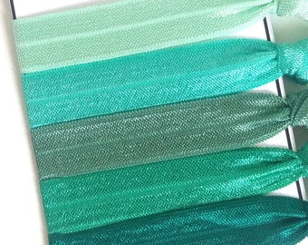 Green Elastic Hair Ties, Green Ombre Hair Ties, St Patrick's Day Hair Accessories, Ponytail Holder, Ties and Elastics, Gift for her
