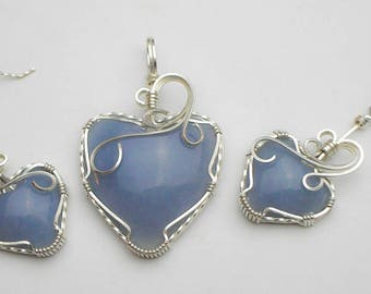 Angelite Heart Shaped Cabochon Swirls and Curls Argentium Sterling Silver Wire Pendant and Earrings