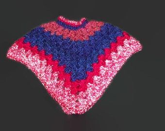 Toddler Girl's Multicolored  Crochet Poncho Size 2 To 3 Years Super Soft