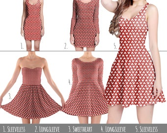 Mickey Polka Dots Red Disney - Skater Dress in XS-3XL -  Women's Sleeveless Flared Dress 000844