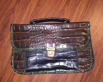 sale MINI BRIEF Small Faux Alligator Skin Briefcase Folder Bag
