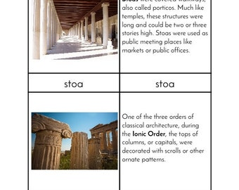 Montessori Ancient Greek Architecture - Three/Four Part Cards