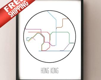 Hong Kong, China - Minimalist Metro Subway Art Print - MTR 港鐵