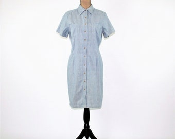 Cotton Dress Women Medium Button Up Dress Casual Short Sleeve Blue Pinstripe Dress Midi Dress Eddie Bauer Vintage Clothing Womens Clothing