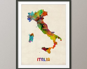 Italy Watercolor Map, Italia Map, Art Print (433)