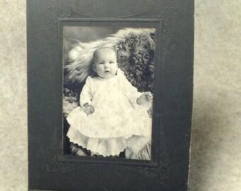 Infant Toddler on Fur Studio Portrait - Vintage Cabinet Card Photograph