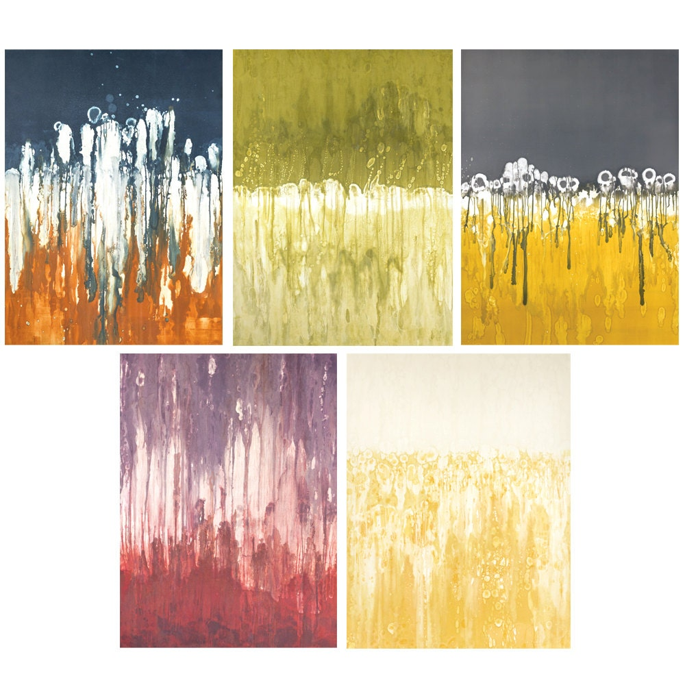 Modern gallery wall art series abstract monotype series
