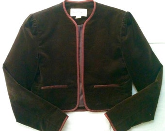Petite brown velvet jacket 70s juniors/misses size 3, fully lined, satin trim, gently used