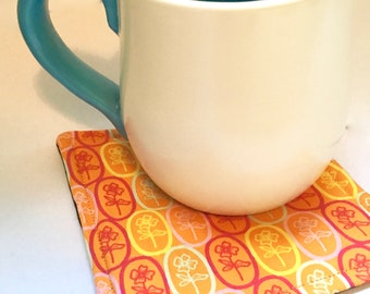 Orange Yellow Floral Coaster Set - Orange Fabric Coasters - Floral Quilted Coaster Set - Orange Summer Drinkware - Flowered Coasters -