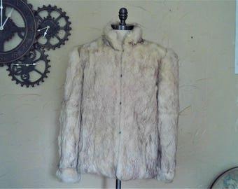 Vintage 100% Rabbits Fur Coat Size Medium