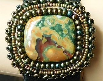 Rainforest Rhyolite and Leather Cuff Bracelet