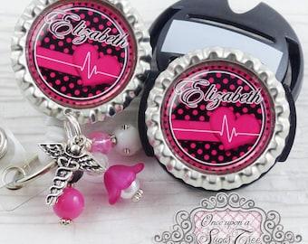 Nursing Badge Reel, CARDIAC Nurse ID Badge Reel Stethoscope Tag Set, ER,Medical Symbol, Cardiac,Heart, Rn Np, Id Clip, Medical,Student Nurse