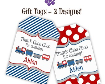 Train Gift Tags - Navy Blue Stripes, Red Polka Dots, Little Engine Train Personalized Birthday Party Gift Tags - A Digital Printable File