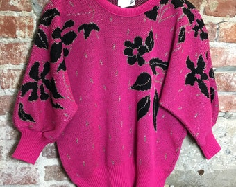 Vintage Sweater Retro 1980's Women's Pullover Batwing Sweater Pink Black Floral Print Silver Sparkle