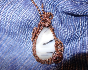 Copper wire wrapped Dendric Agate pear cabachon necklace.