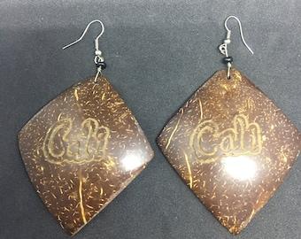 Vintage Coconut Shell Dangle Brown Earrings