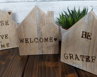 Handmade Reclaimed Houses – Shelf /Mantle Art/ House Warming Gifts!