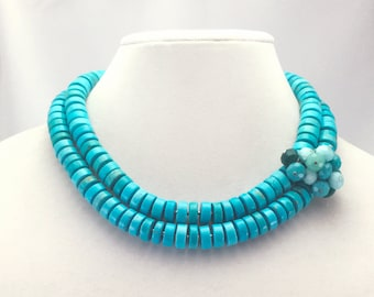 Multistrand Turquoise Howlite Cluster Gemstone Statement Necklace by Modaire
