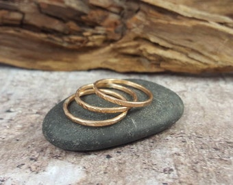 Bronze Stacking Rings, Stack Ring, Rustic Stacked Rings, Set of 3 Minimalist Rings, Hammered Bronze Thin Stacked Rings, Girlfriend Gift.