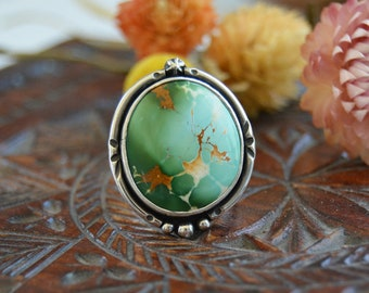 Turquoise Ring. Round Turquoise Statement Ring. Southwestern Bohemian. Unique Sterling Silver Metalsmith Jewelry. One of a Kind. Size 7