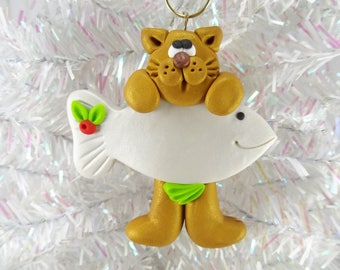 Cat Christmas Ornament -  Kitty Christmas Ornament -  Cat Lover Gift -  Cat Owner Gift - Golden Cat Ornament - Pet Ornament -113032