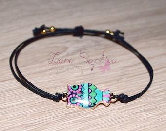 Elegant black bracelet with OWL