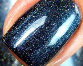 "Navy Blue Linear Holographic Nail Polish - Free U.S. Shipping - ""Wind"" - Gift for Mom, Sister, Daughter - 0.5 oz Full Sized Bottle"