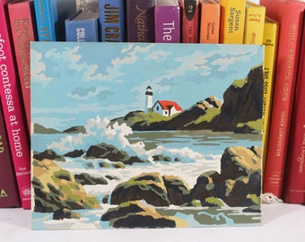 Vintage Paint by Numbers, Ocean and Light House, Crashing Waves on rocks, Painting