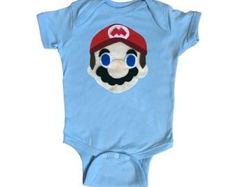 Mario - Kids Light Blue Baby Bodysuit - Children's Clothing - Gift