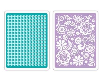 Sizzix Textured Impressions Embossing Folders 2PK - Sweet Dots & Florals Set 659726
