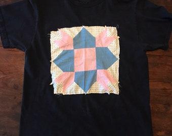 Folk Art Tee   Handmade Recycled Needlepoint Tee Shirt   1930s Quilt Patch T Shirt