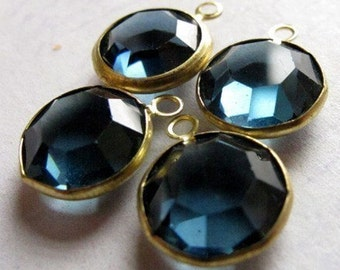 Vintage Montana Blue Swarovski Rhinestone Crystal Channel Charms (14mm) (4X) (S560)