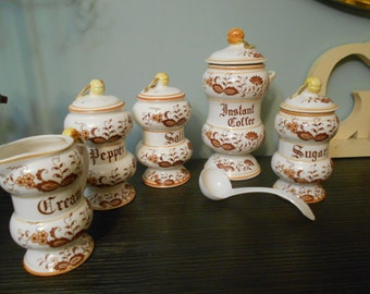 brown onion vintage  7 piece collection  for kitchen