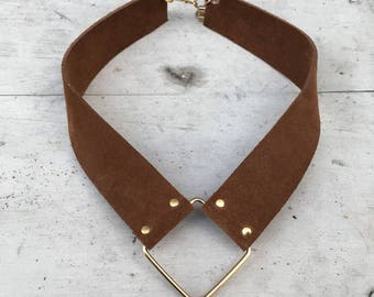 Limited edition Converge brown suede leather collar necklace with gold diamond shaped pendant