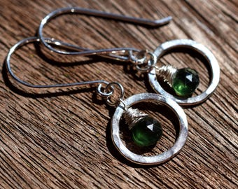 Green Apatite Earrings, Sterling Silver Circle Earrings, Forest Green Gemstone Earrings, Sterling Silver Wire Wrapped Briolettes, Dark Green