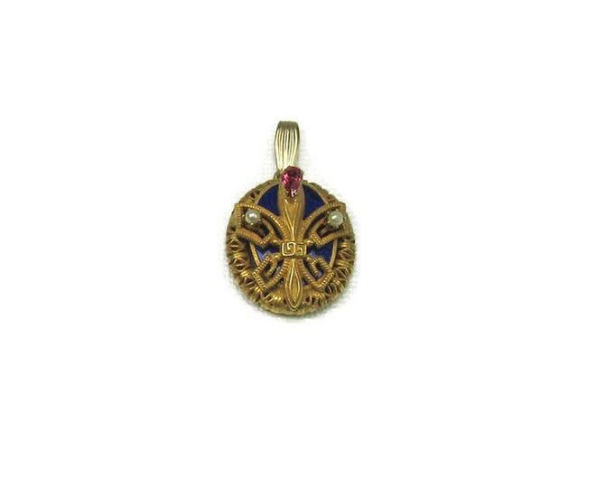 Gold Tone Fleur de Lis Pendant; Fleur de Lis Pendant with Blue Enamel; Blue Enamel Pendant; Fleur de Lis; Louisiana State Symbol
