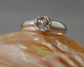Elsa- White topaz Gemstone Ring, pale topaz gemstone, topaz engagement ring, diamond alternative engagement ring, silver engagement ring