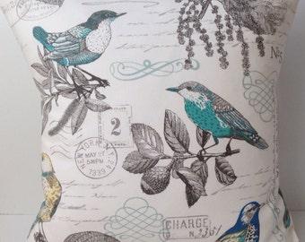 Bird Pillow Cover Decorative Throw Pillow Cushion Accent Pillow Toss Pillow Turquoise Blue Script